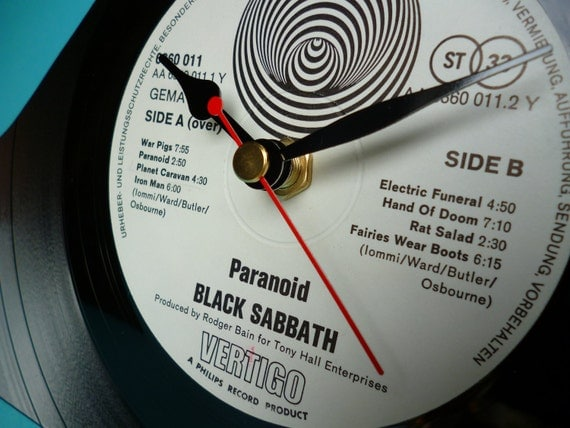 BLACK SABBATH Record Clock Handmade Mantle Clock made from Recycled Record 70s Rock