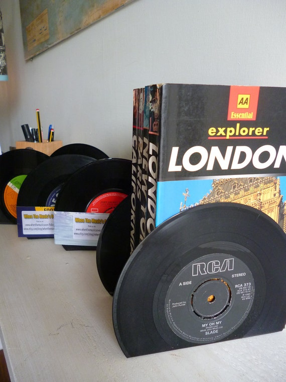 Record Bookends 60s 70s 80s Music Handmade from Vintage Vinyl Records