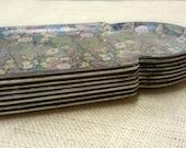 SALE Vintage Floral Paper Mache Trays Japan - Set of FOUR