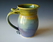 Pottery Coffee Mug, Handmade Wheel Thrown Pottery Ceramic Clay in Lavender Coral Blue Green by RiverStone Pottery