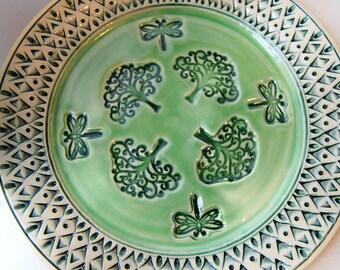 MADE TO ORDER...Pottery Serving Platter, Handmade Wheel-Thrown Ceramic Stoneware, Green White, Tree of Life Dragonfly Platter