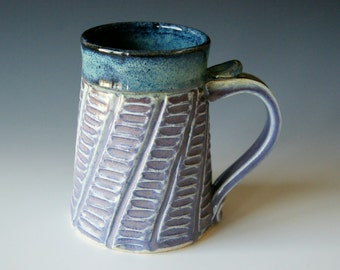 Coffee Mug, Hand Carved Texture, Lavender, Black, and Blue / Handmade Wheel Thrown, MADE TO ORDER by RiverStone Pottery