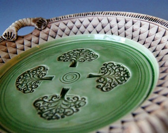 Pottery Serving Platter / Hostess Platter / Wheel-Thrown Ceramic Stoneware, Green Brown, Tree of Life Platter by RiverStone Pottery