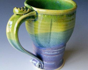 Pottery Coffee Mug / Travel Mug in Green, Lavender, and Blue  / Handmade Wheel Thrown Ceramics...MADE TO ORDER