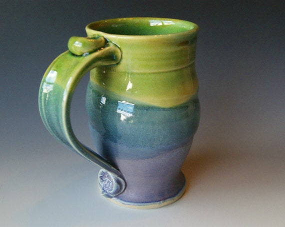 Pottery Coffee Mug / Handmade Wheel Thrown Pottery Ceramic Clay / Lavender Blue and Green