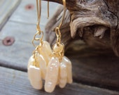 Earrings with Pearls Gold Wire Wrapped Jewelry