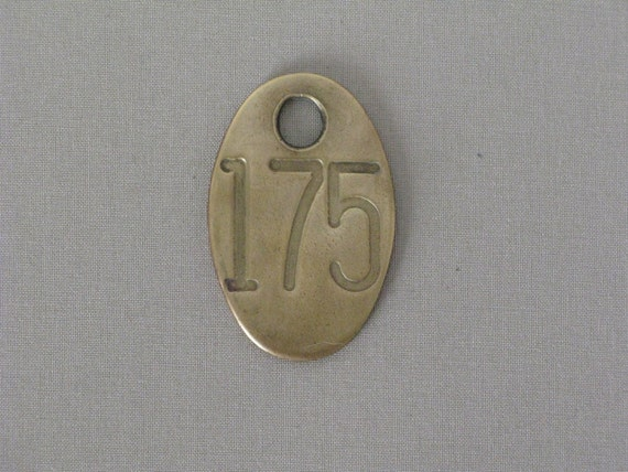 Vintage Brass Number Tag