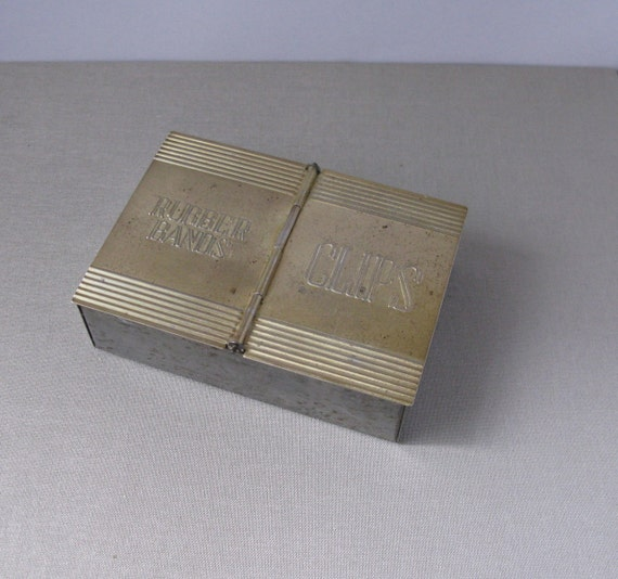 Vintage Metal Rubber Band/Paperclips Box