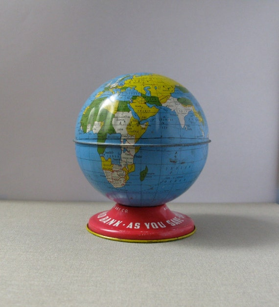 Vintage Metal Globe Bank