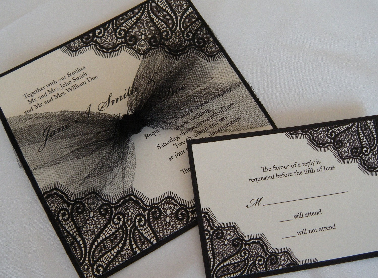 Lace Wedding Invitation: Black Chantilly Lace Invitation With Tulle Accents