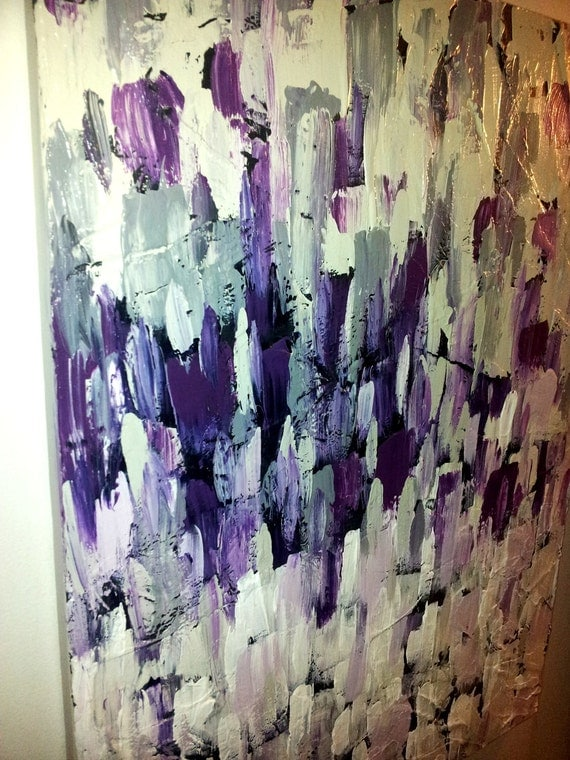 People In The Midst. Modern, Abstract, acrylic Original Painting, Purple, Grey, Black.