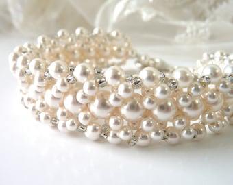 Pearl Cuff Bracelet - Bridal Bracelet, Wedding Bracelet, Bridal Jewelry Pearl, Vintage Style Wedding Jewelry Pearl, Bridal Accessories