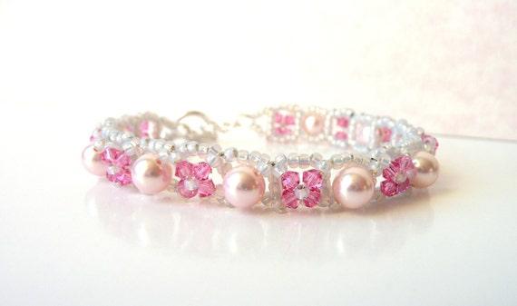 Girls Pink Beaded Bracelet, Crystal and Pearl Bracelet, Swarovski Kids Jewelry, Girls Adjustable Bracelet, Flower Girl Jewelry Bracelet