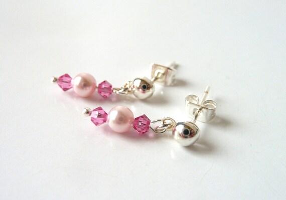 Little Girl Pink Earrings, Flower Girl Jewelry, Childrens Jewelry Earrings, Kids Jewelry, Pink Crystal & Pearl Dangle Earrings, Easter