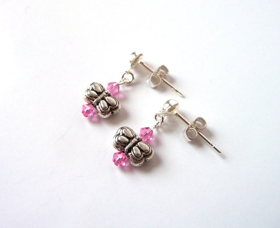 Little Girl Earrings, Pink Butterfly Dangle Earrings, Childrens Jewelry Earrings, Kids Jewelry, Girl Jewelry