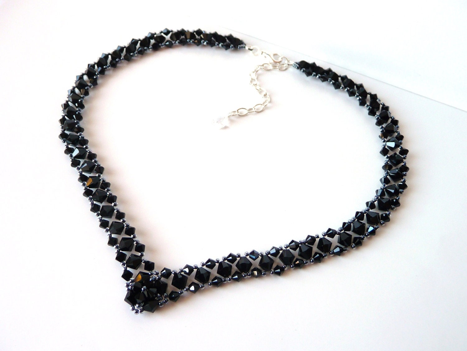 black beaded jewelry necklace prom jewelry by meljoycreations