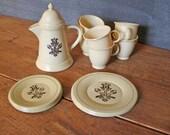 ChristmasInJuly SALE Vintage 1960's Pfaltzgraff Village Ohio Art Tin Tea Set