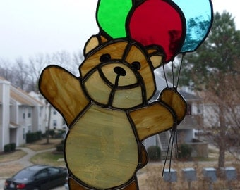 Stained Glass Teddy Bear with Balloons