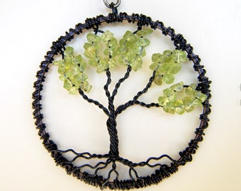 The Black Peridot Tree of Life Necklace August birthstone