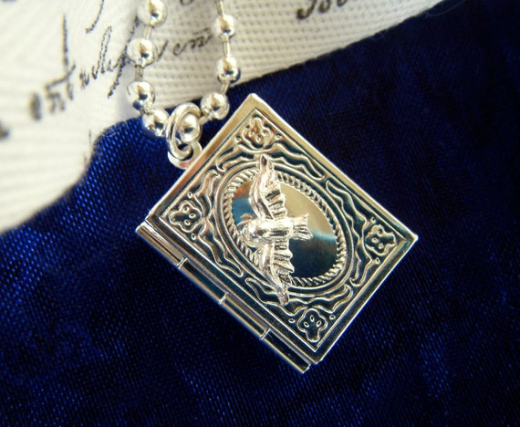 Sterling Silver Book Locket Double Photo