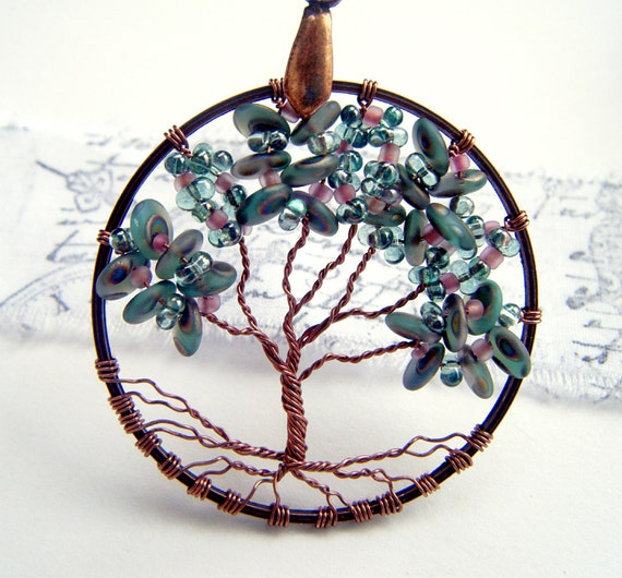 Peacock Delight Tree of Life Necklace