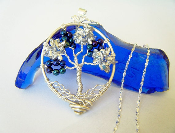 RESERVED Silver Flowers Tree of Life Necklace Set Fine Silver