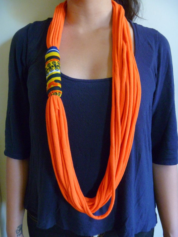 Scarf Necklace- Orange & African Wax Print Scarflace