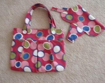 Pink Dot Print Dog Bag w/ Dog Coat