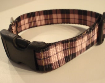 Pink Plaid Tartan Dog Collar
