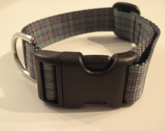 Navy and Green Flannel Dog Collar