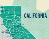 State of California Map Poster in Turquoise- Vintage Style Poster 11x17