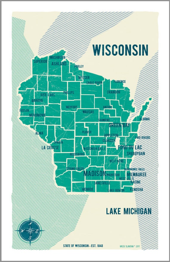 Wisconsin Map Poster in Turquoise- Vintage Style Poster 11x17