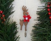 Rudy Flower  1 -Rudolph the Red Nosed Reindeer wooden pin