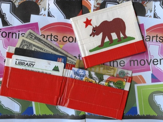 Bear Footin' California State Flag Custom Duct Tape Wallet