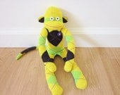 SALE - 25% off! Argyle sock monkey plush doll - Mardi Gras yellow, purple, and green