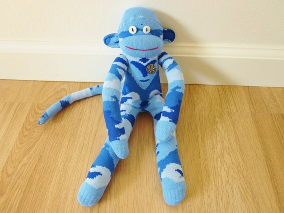 Blue camouflage sock monkey plush doll - light and dark blue camo with vintage metal button