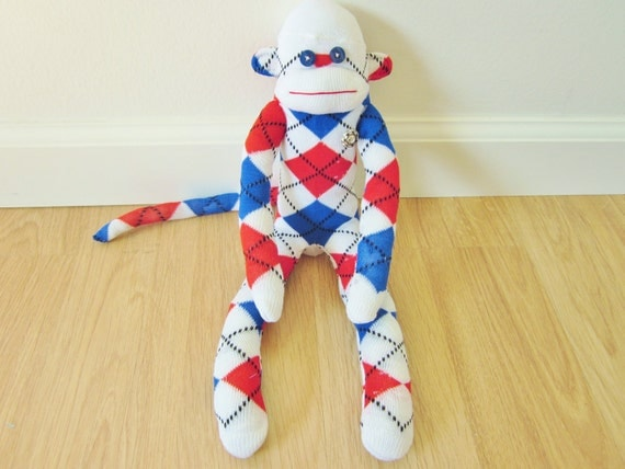 Patriotic sock monkey - red, white, and blue argyle, with vintage metal button - plush doll