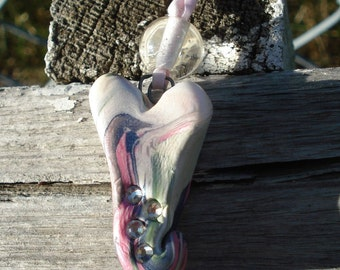 """Chunky marbled polymer clay heart 40"""" necklace"""