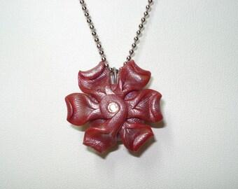 "Dark red polymer clay flower with Swarovski crystal center 18"" necklace"