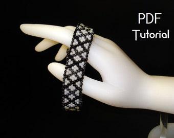 """PDF - """"Shadowed Diamonds"""" odd count peyote PDF tutorial"""