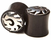 "Ebony Wood Eyelets With Silver Cap 7/16"" (11mm), or 1/2"" (13mm)"