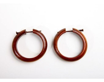 Wooden Earrings Hoops with post