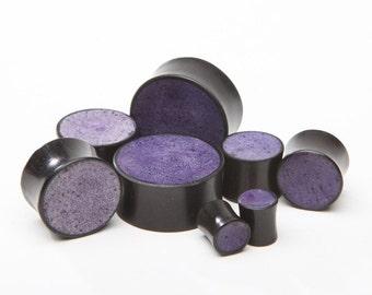 "Ebony Wood Plugs with Purple inlay - 2g, 0g, 00g, 7/16"", 1/2"", 9/16"", 5/8"", 11/16"", 3/4"", 7/8, 1"""