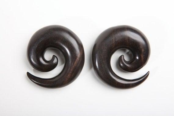 "Ebony Wood Spirals - 2g, 0g, 00g, 7/16"", 1/2"", 9/16"", 5/8"", 3/4"", 7/8, 1"""