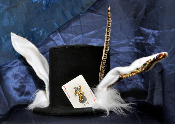 white rabbit mad hatters top hat