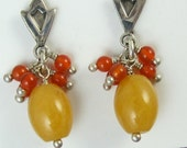 Chandelier Earrings Sterling Silver Posts with yellow Jade Carnelian