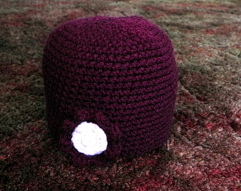 Aubergine Hat with Aubergine and Ivory Flower
