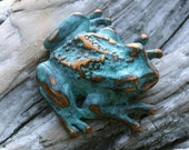 Tree Frog Brooch in blue green copper patina