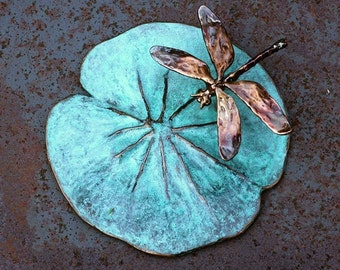 Dragonfly on Lily Pad Scuplture