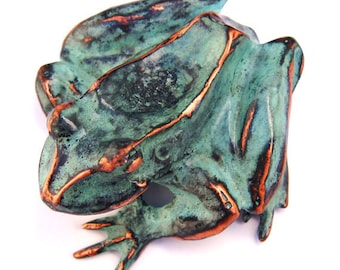 Frog Sculpture in copper with blue green patina